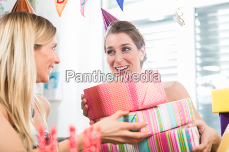 happy woman having fun while celebrating