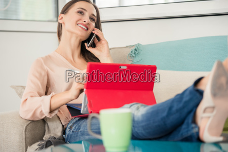 successful female entrepreneur talking on mobile