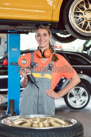 portrait of a cheerful female auto