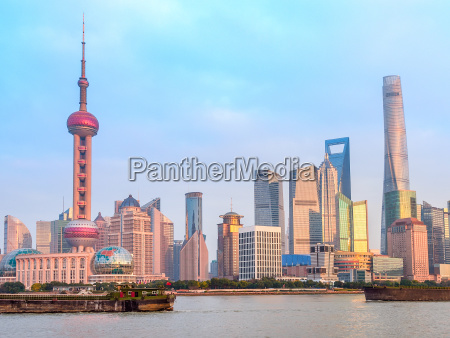 shanghai downtown and freight ships