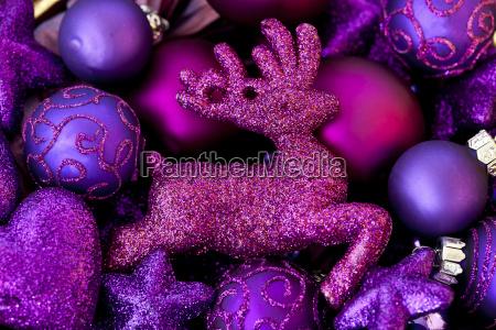 rosa glitter hirsche und ornamente