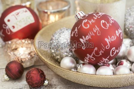 silber rot weihnachten stillleben