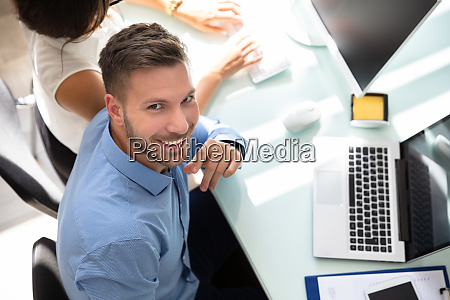 elevated view of a happy businessman