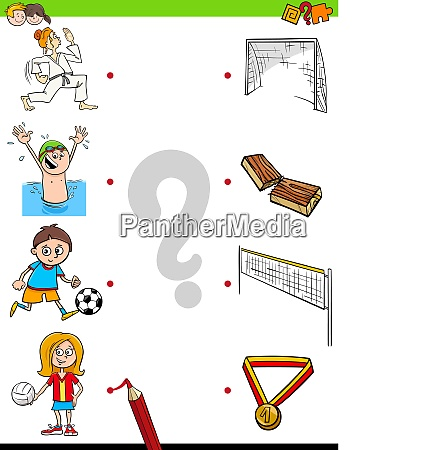 match kinder zeichen und sportaktivitaeten spiel