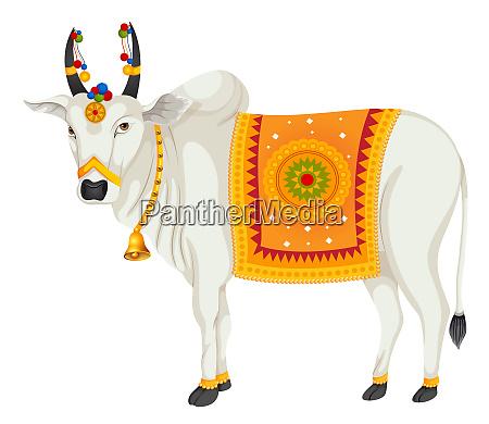 indien heilige kuh heilige spiritualitaet illustration