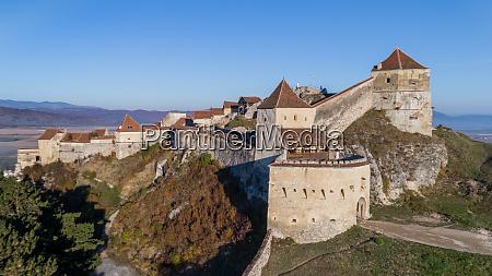 aerial view of rasnov fortress romania