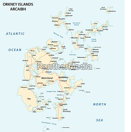 orkney islands road vector map