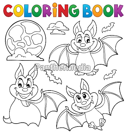 coloring book bats theme collection 1