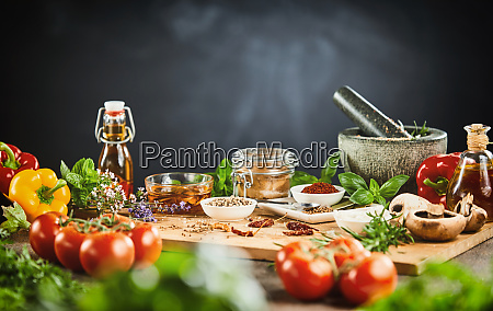 fresh vegetables aromatic herbs and spices
