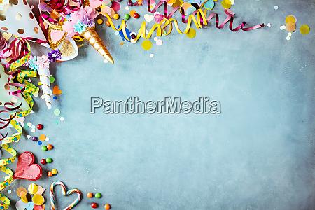 colorful unicorn carnival border over a