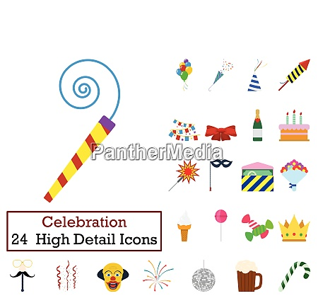 set of 24 party icons