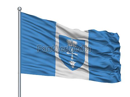 luniniec city flag on flagpole belarus