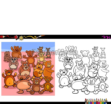 teddy bears characters group coloring book