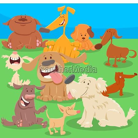 hunde oder welpen zeichentrickfiguren illustration