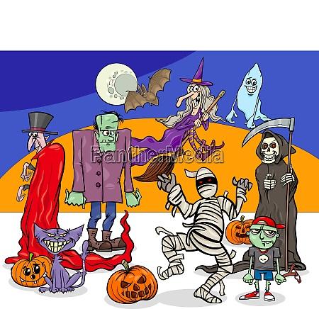 halloween holiday cartoon spooky characters group