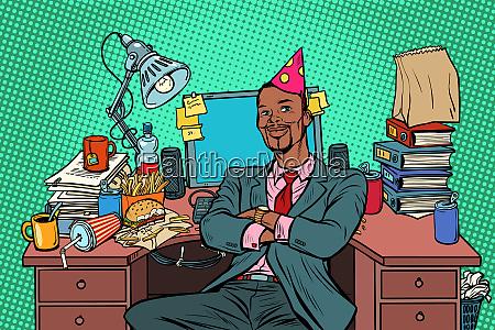 pop art african businessman birthday working