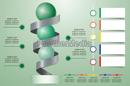 infografik praesentation der metallspirale mit gruenen