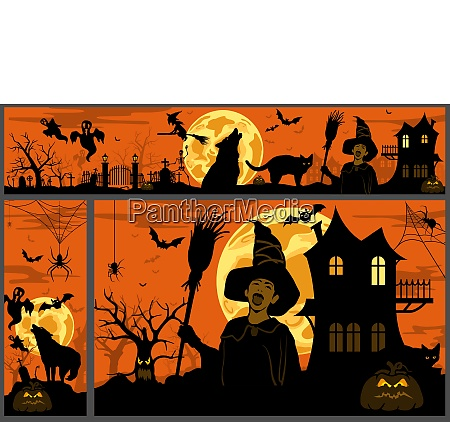 halloween background and banners