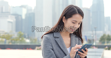 asian business woman use of mobile