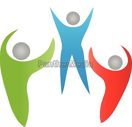three people group family team logo
