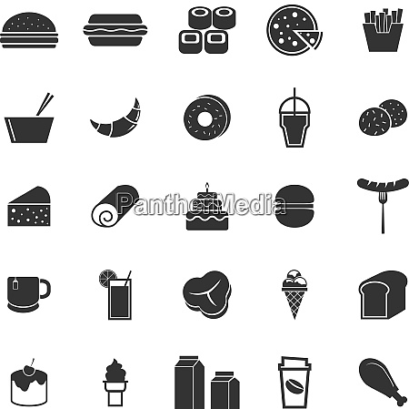 popular food icons on white background