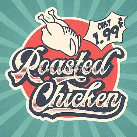 retro advertising restaurant sign for roasted