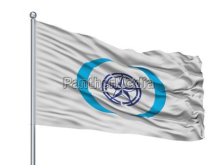 ebetsu city flag on flagpole japan