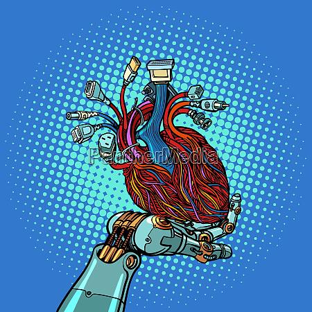 cyber herz in roboterhand