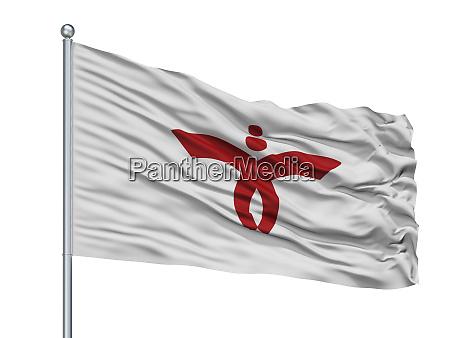 nishiwaki city flag on flagpole japan