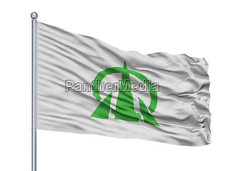 oyabe city flag on flagpole japan