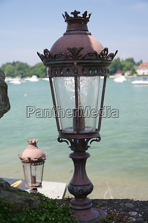 antique harbor lantern in light backlit