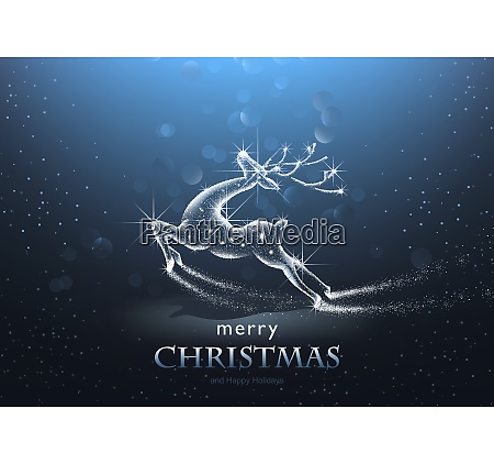 christmas background with starry deer