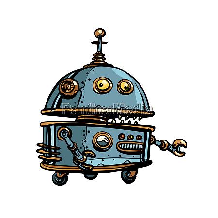 lustige runde roboter pop art retro