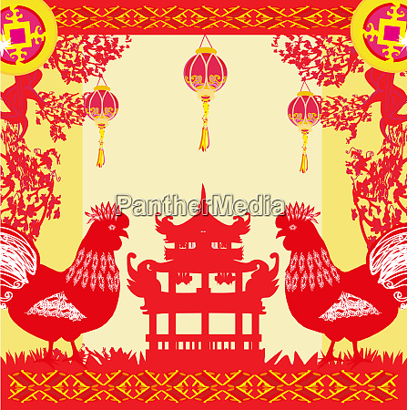 year of rooster design for chinese