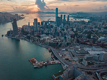 hong kong city at aerial view