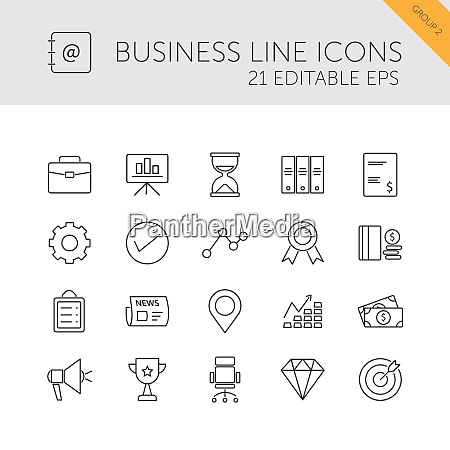 business line icons set on a