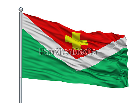 saratov city flag on flagpole russia