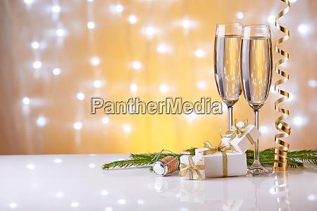 champagner neues jahr und weihnachten