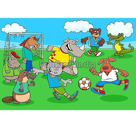 cartoon animal soccer players on football