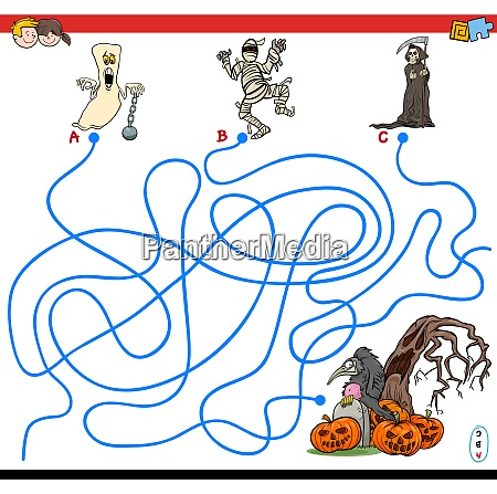lines maze game with spooky halloween