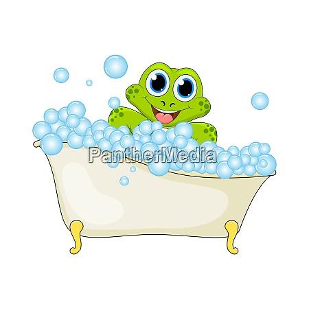 cartoon frosch in schaumbad isoliert auf