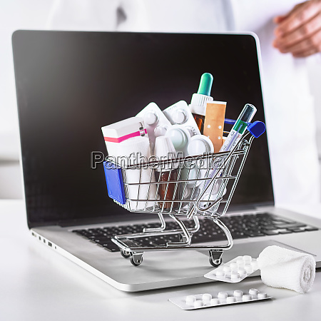 medications in small shopping cart