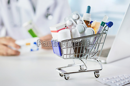 mini shopping cart with drugs in