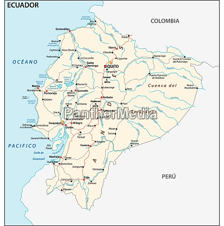 die republik ecuador strassenseite vektorkarte