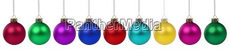 weihnachtsbaelle kugeln farben bannerdekoration isoliert