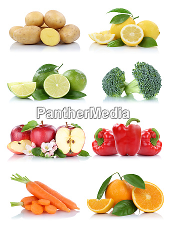 fruits and vegetables collection isolated apple