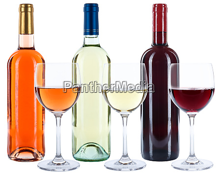 wine bottles glasses wines red white