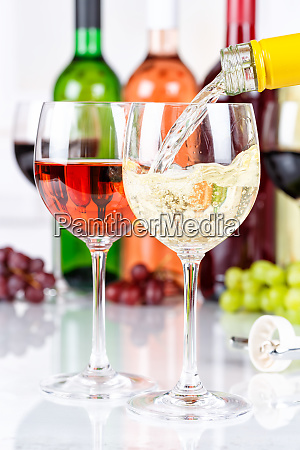 wine pouring glass bottle white portrait