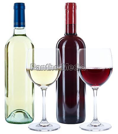 weinflaschen glaeser weine rot und weiss