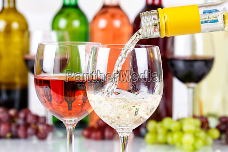 wine pouring glass bottle white drink